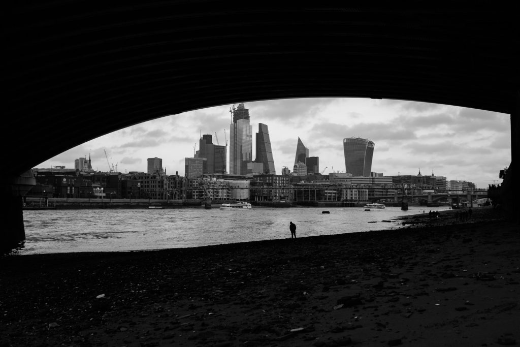 Panorama of city of London from the shore of the river Thames