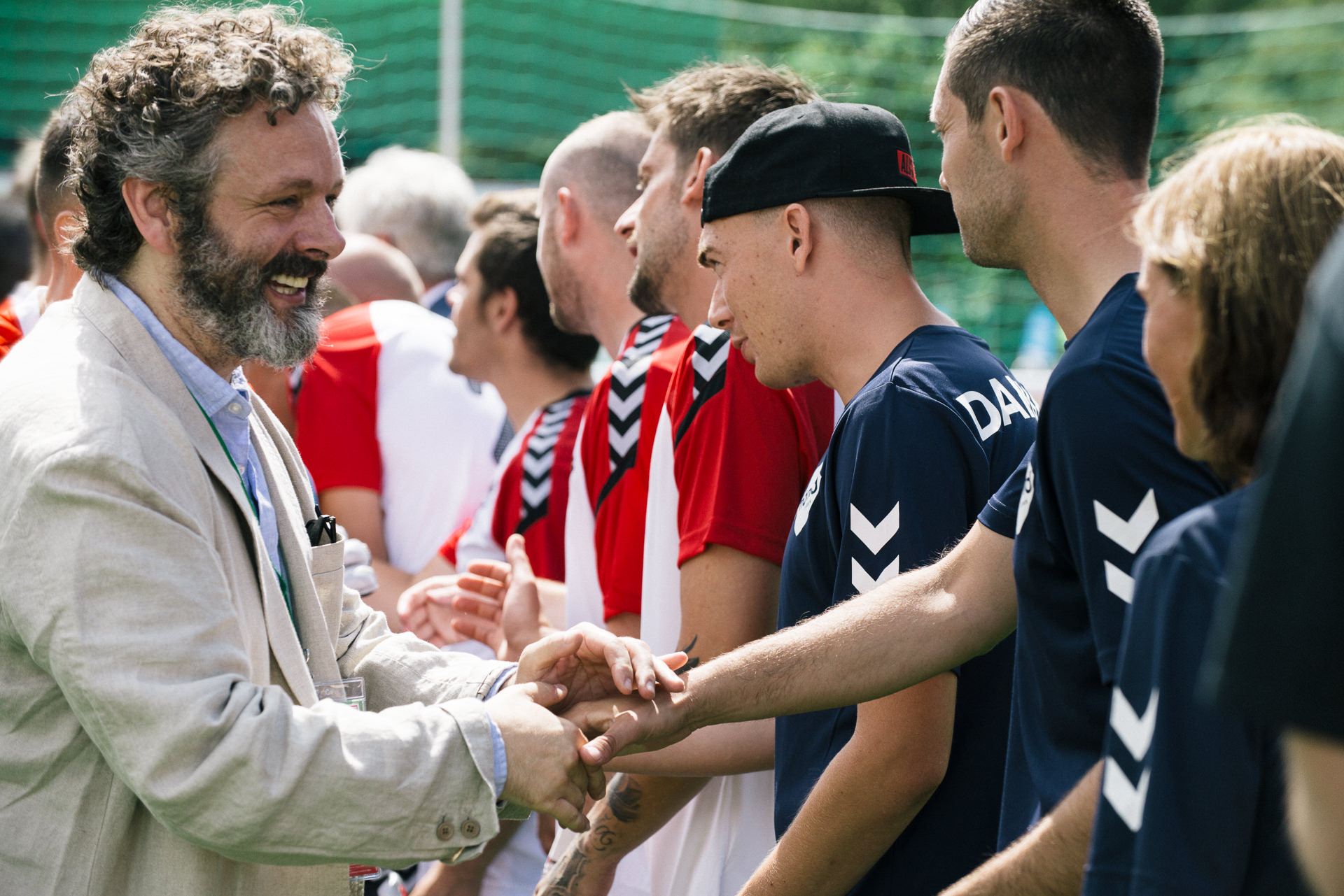 Michael Sheen with cardiff2019hwc players