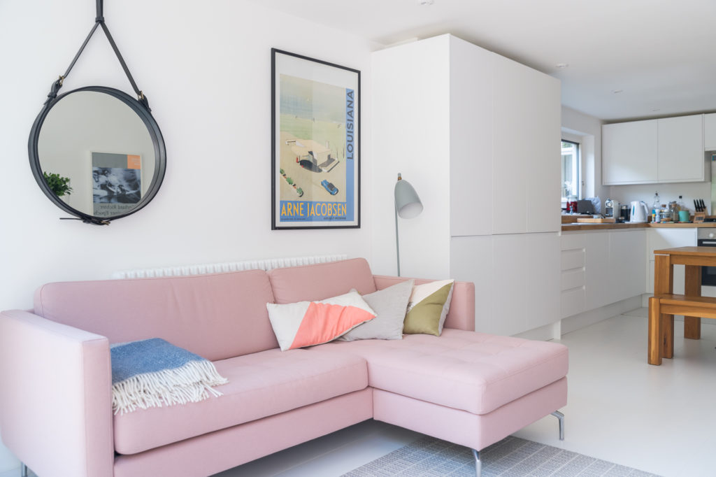 pink sofa in a living room