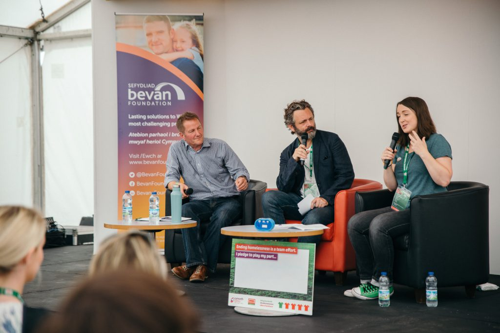 michael sheen speaking during the HWC Cardiff 2019