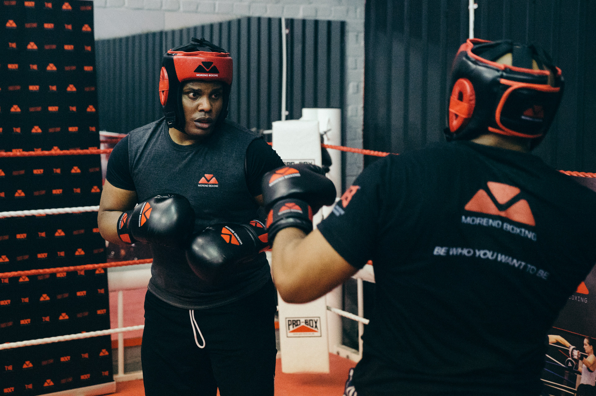 two boxers in the ring of moreno boxing gym clapham