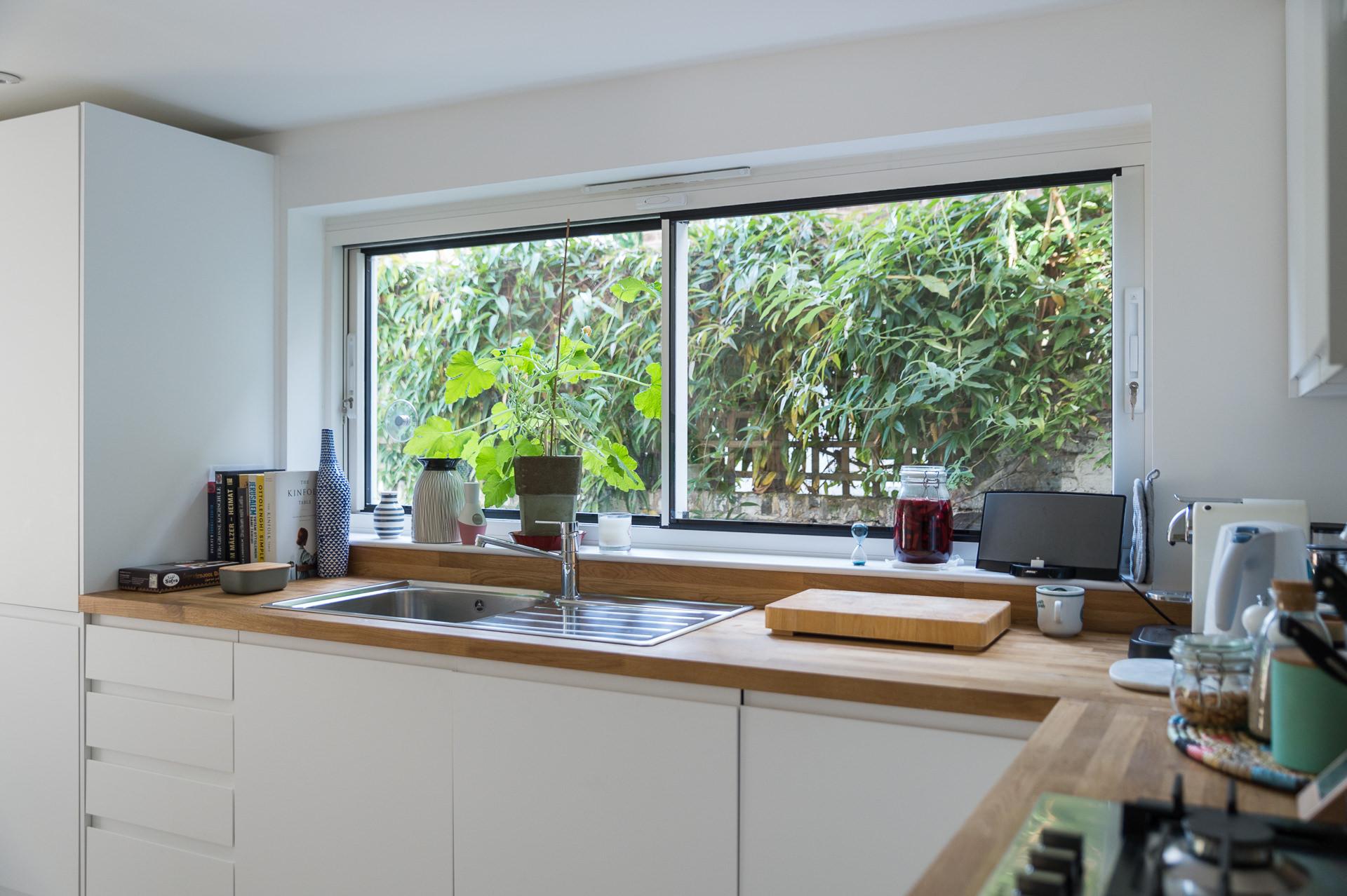 big window in a kitchen