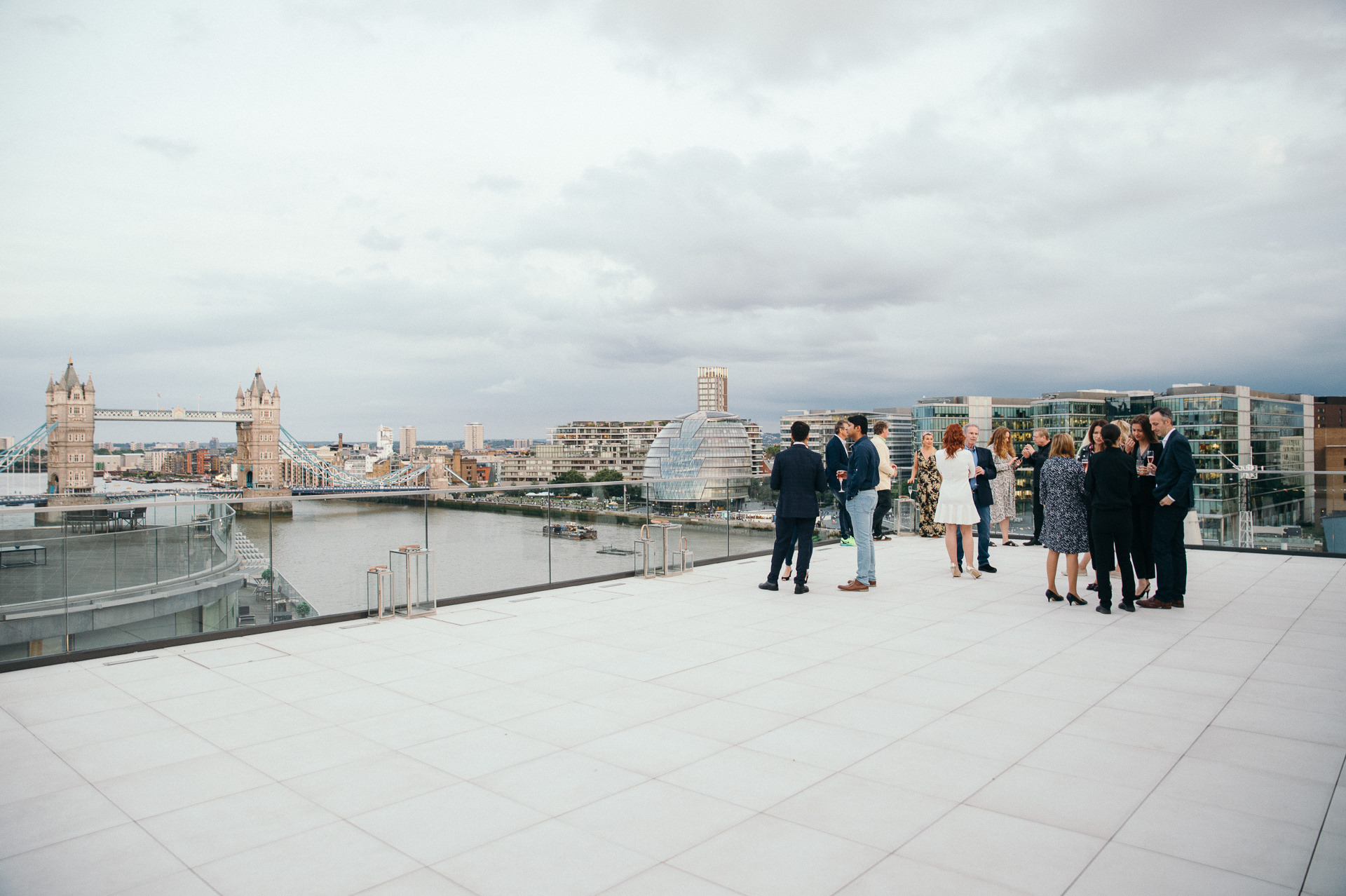 Roof terrace with a view over Tower Bridge London