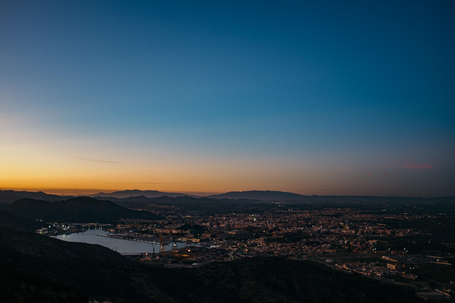 sunset over cartagena, spain