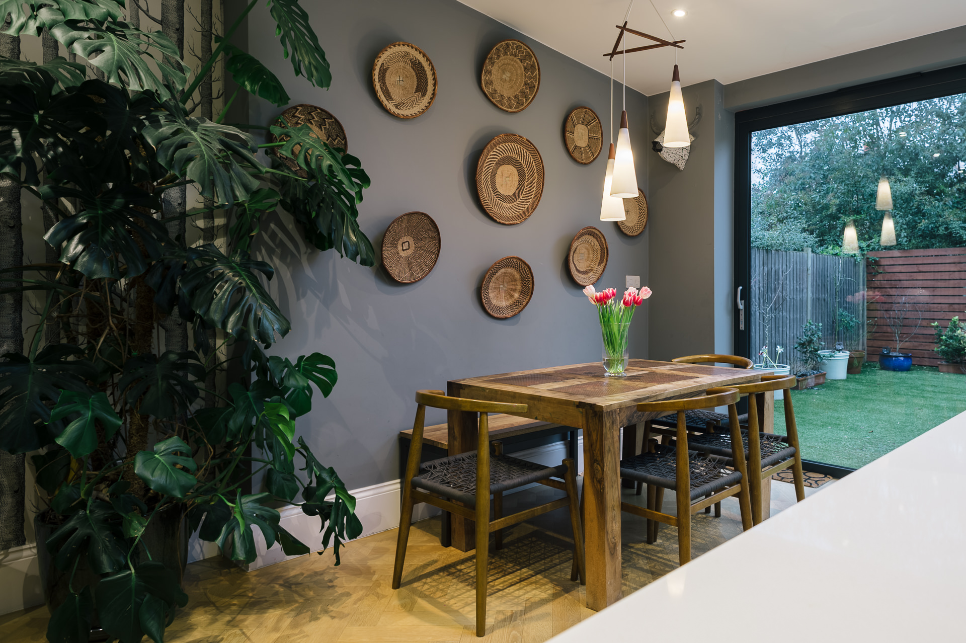 wooden table and wall decoration