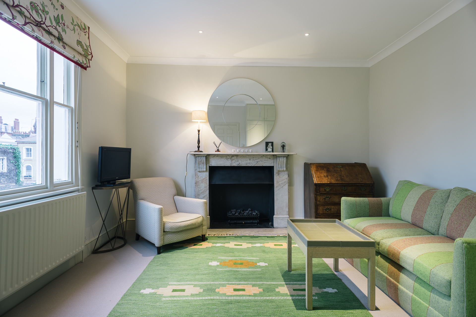 freshly decorated living room in central london