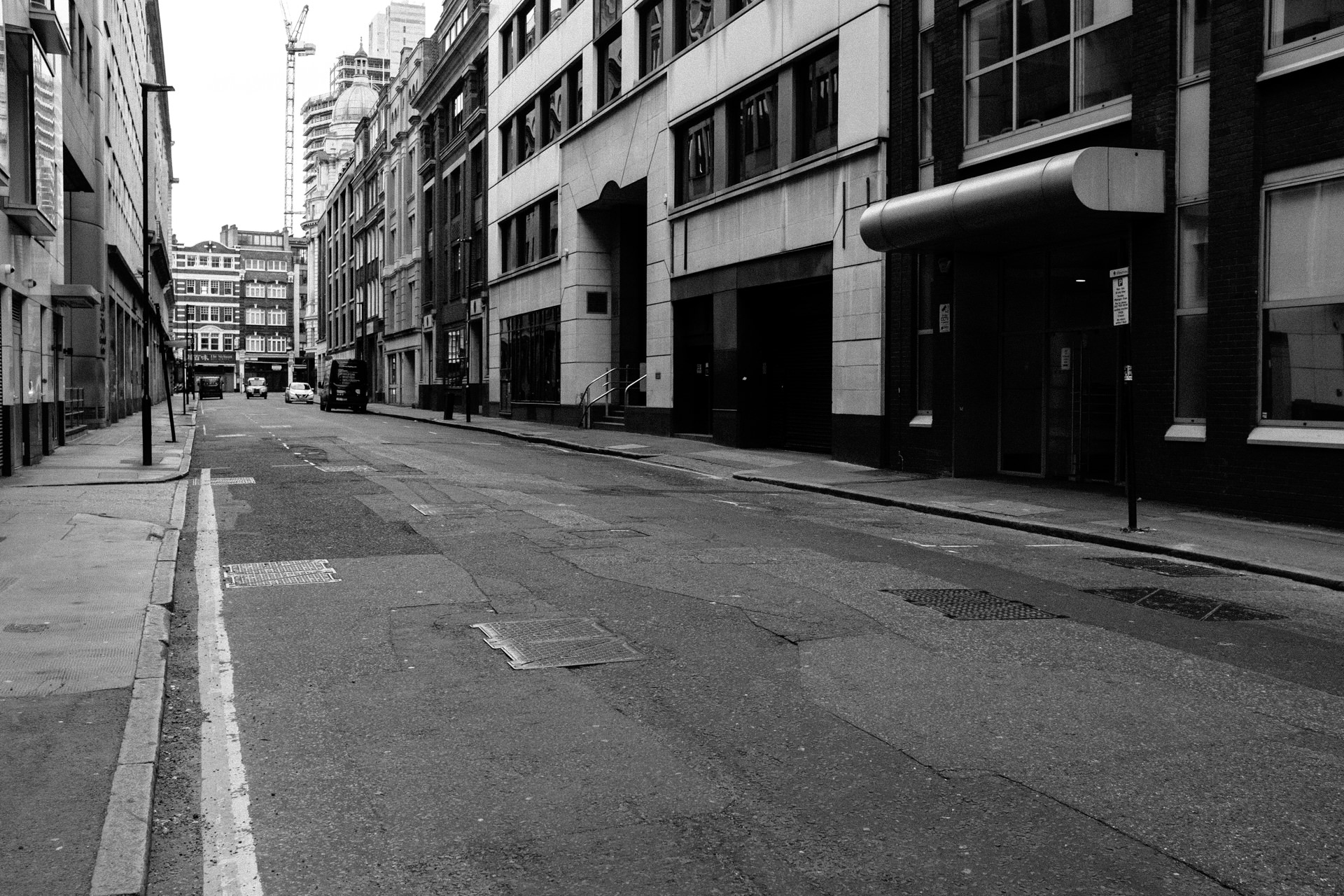 black and white empty london street