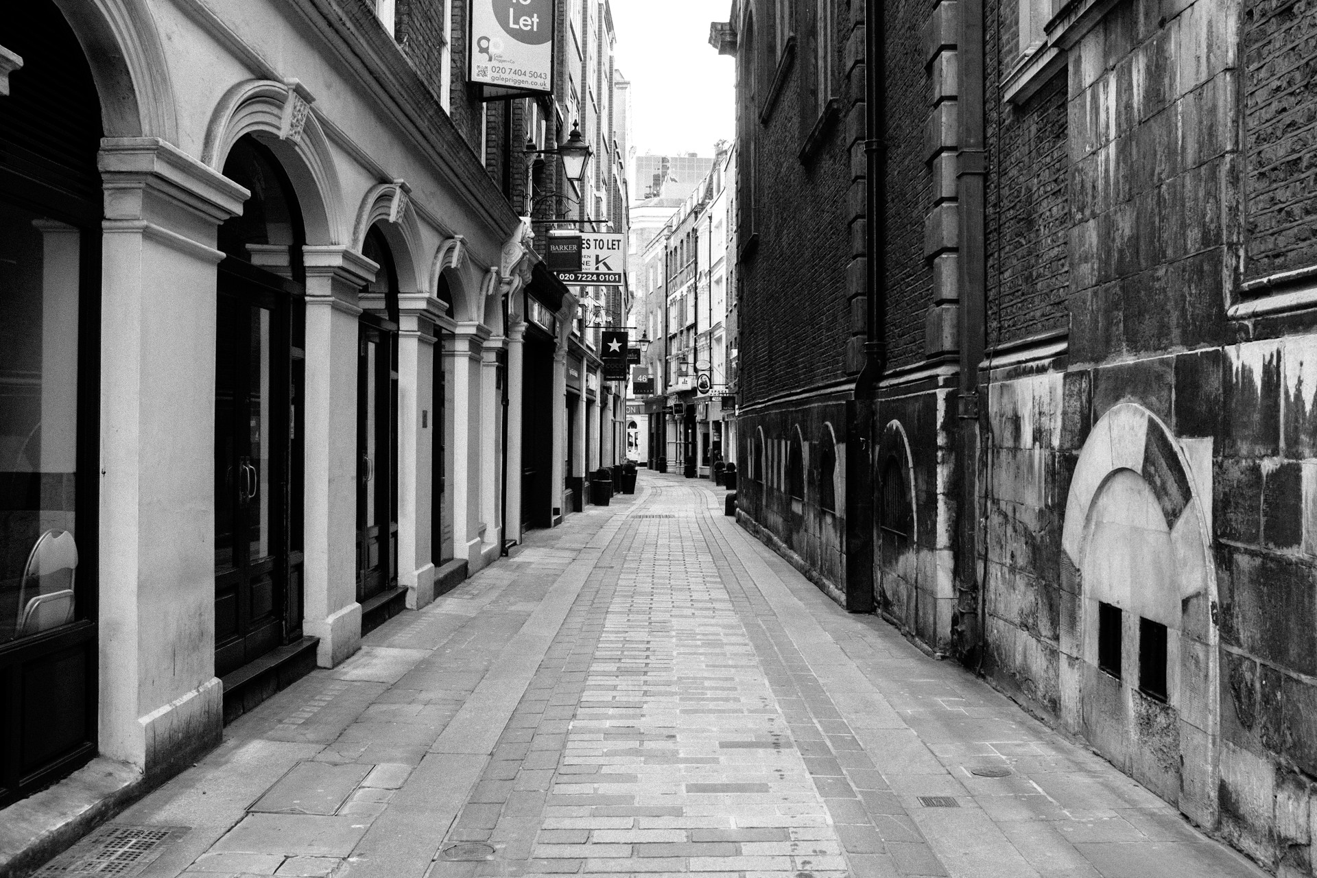 black and white - empty street london