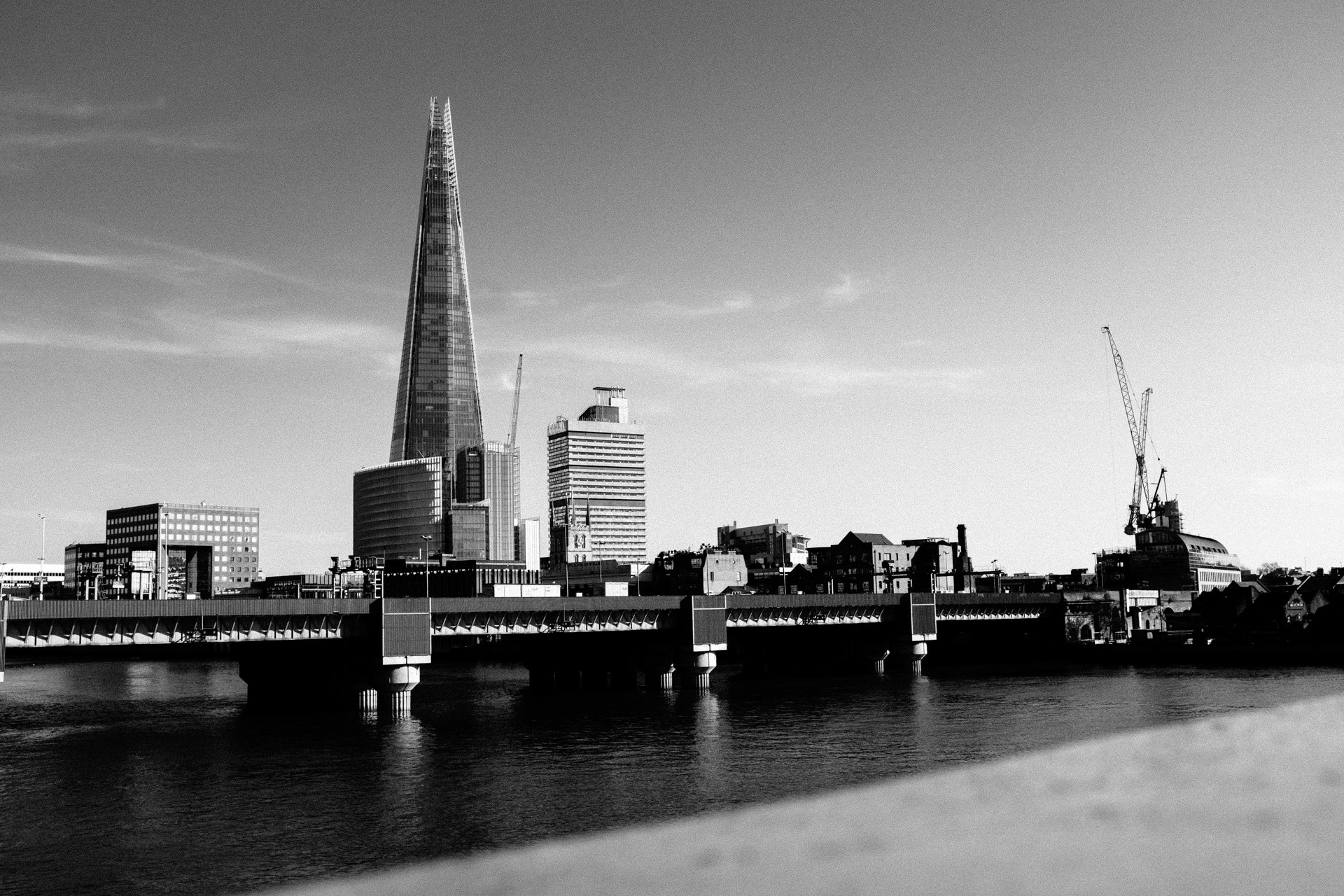 black and white image of the shard london