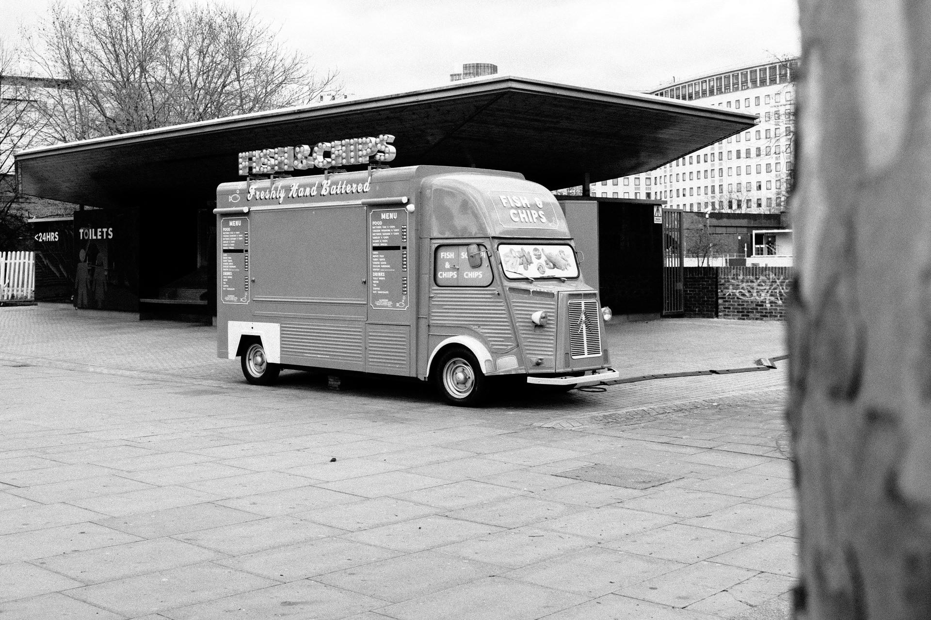 closed street food van in black and white