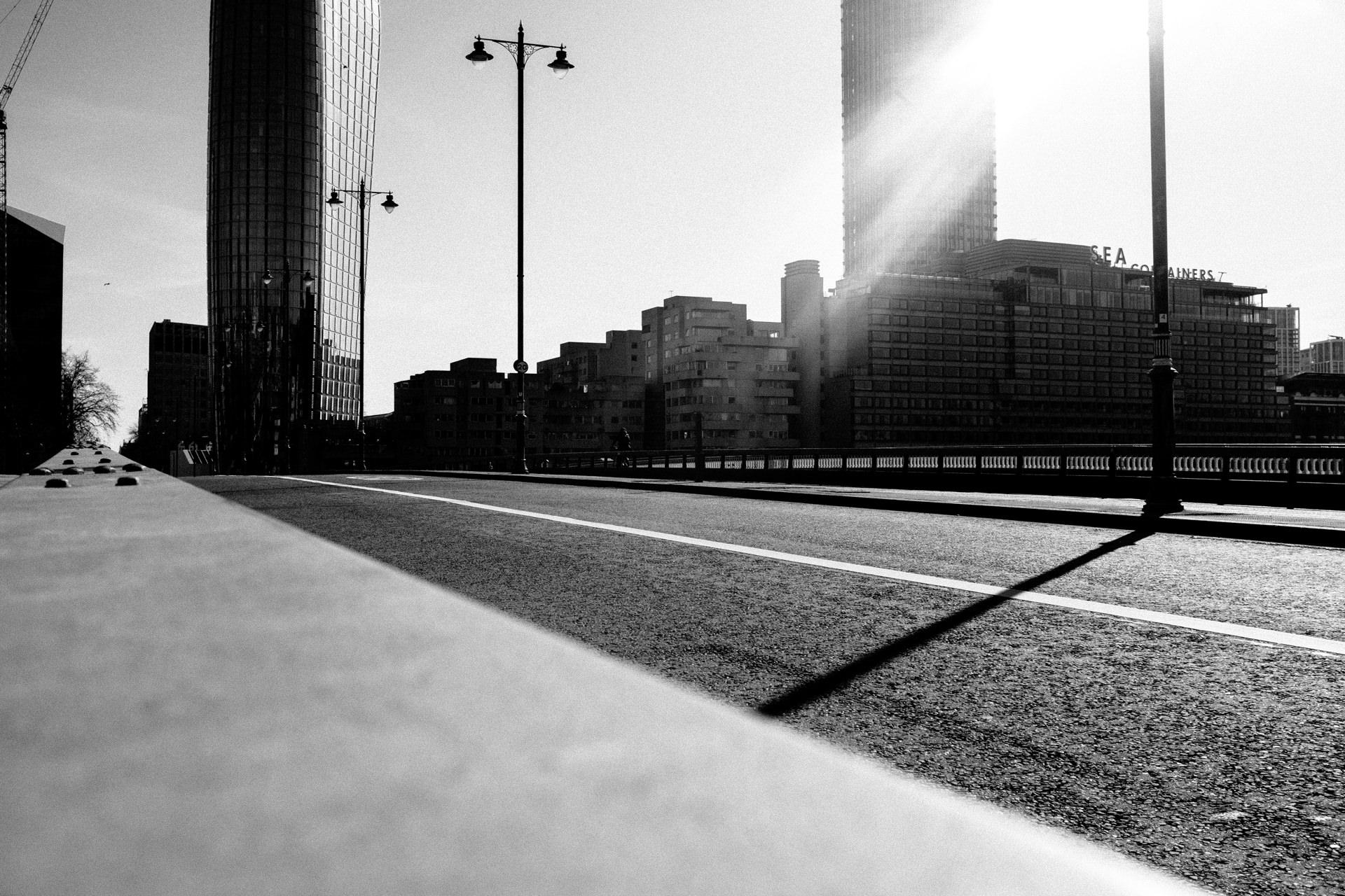 empty bridge in london during corona virus lockdown