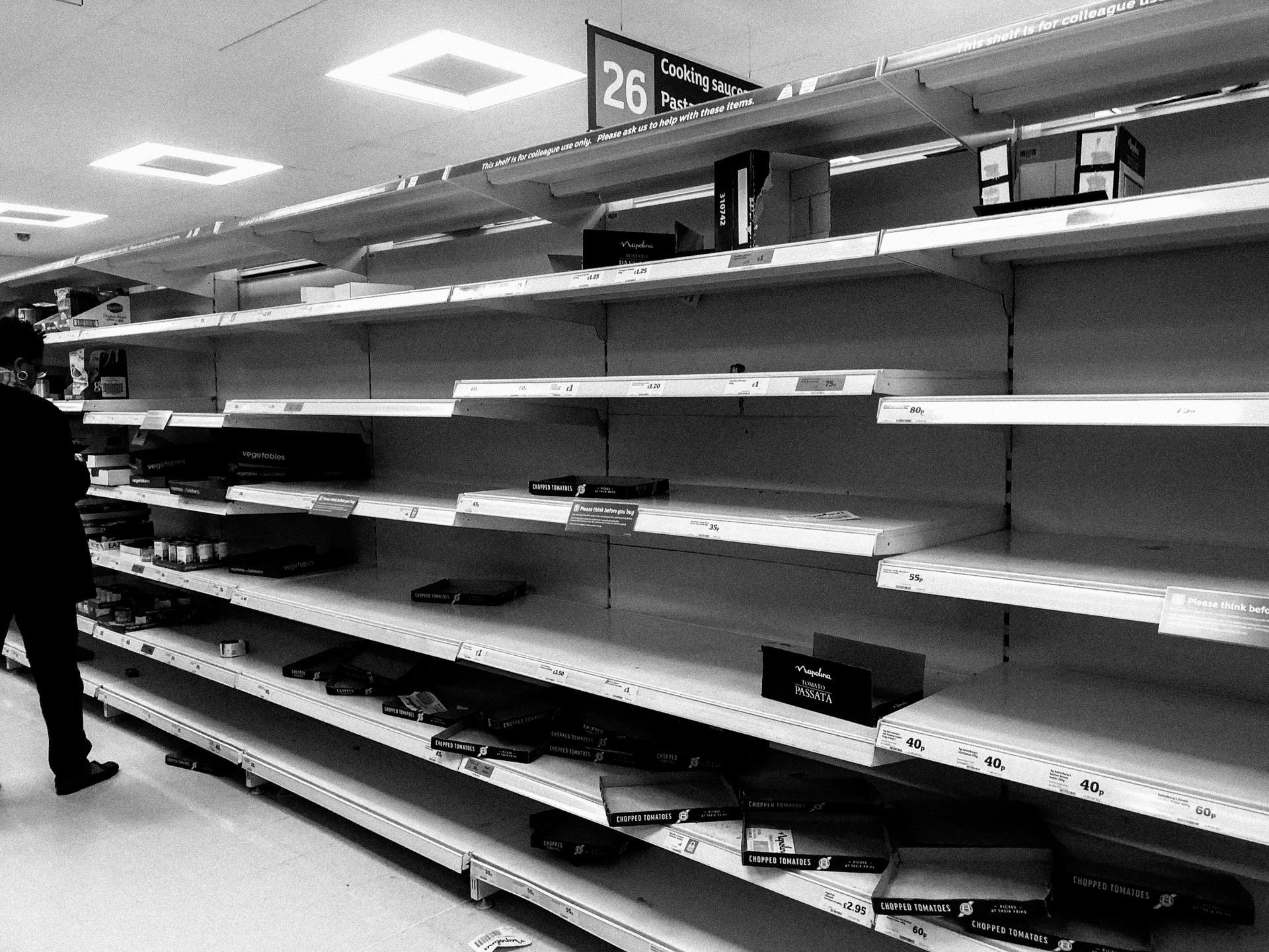 sainsburys empty shelves corona virus