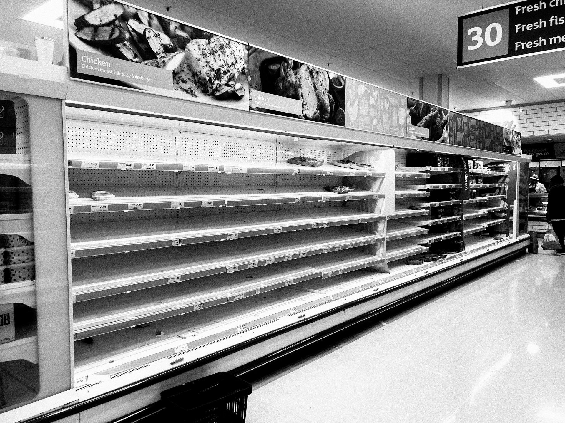 sainsburys empty shelves dalston london during the corona virus