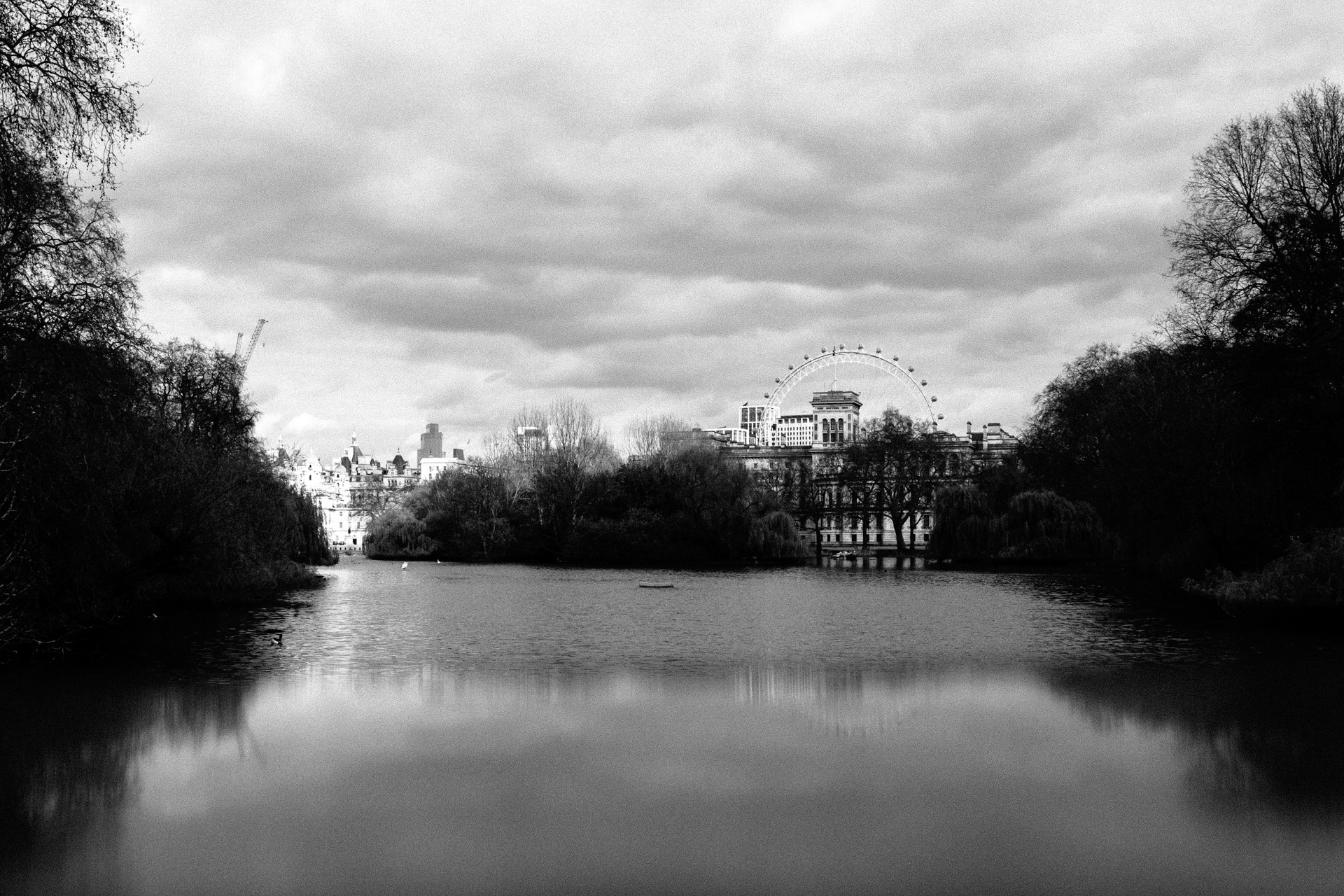view over the london eye from far