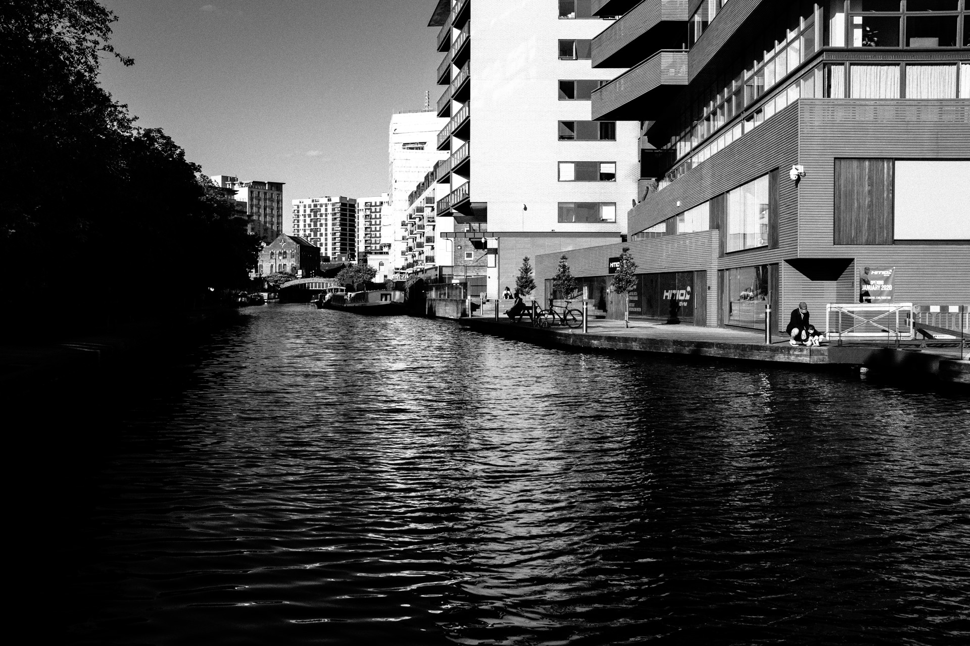 black and white picture of regents canal london