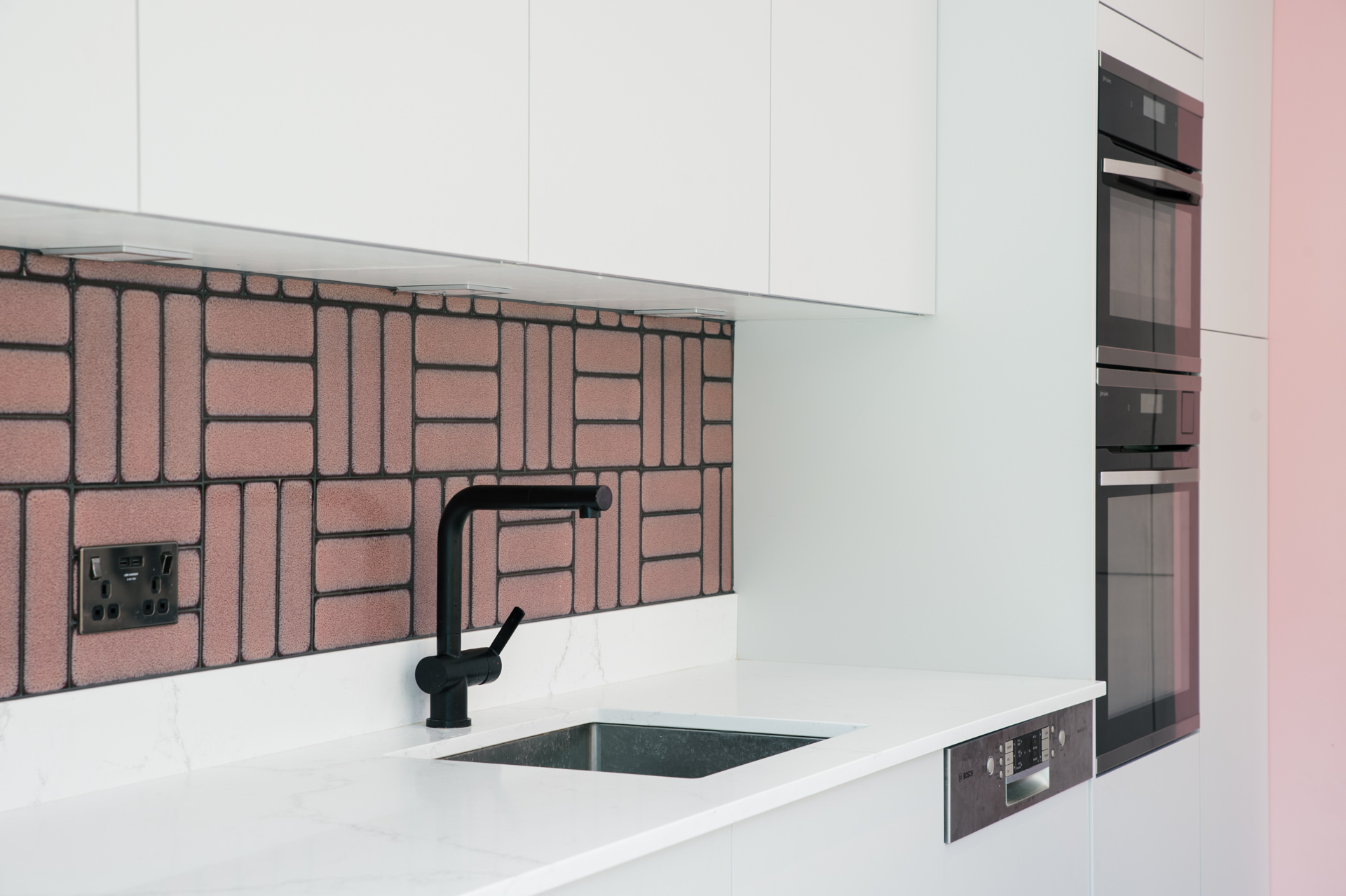 white and pink kitchen design london