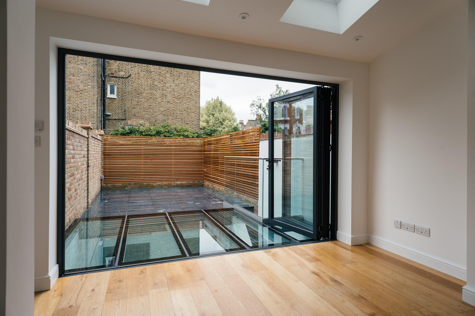 wide living room garden door wide open